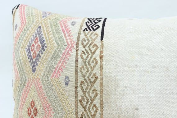 Turkish Kilim Pillow, 16x24 Organic Pillow,Covers Pillow, White Pillow, Handmade Pillow, Flat Pillow