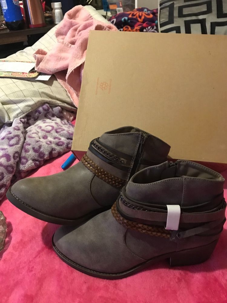 af086652a26 womens booties size 8 So brand(Kohls) Color grey with brown black trim New  #fashion #clothing #shoes #accessories #womensshoes #boots (ebay link)