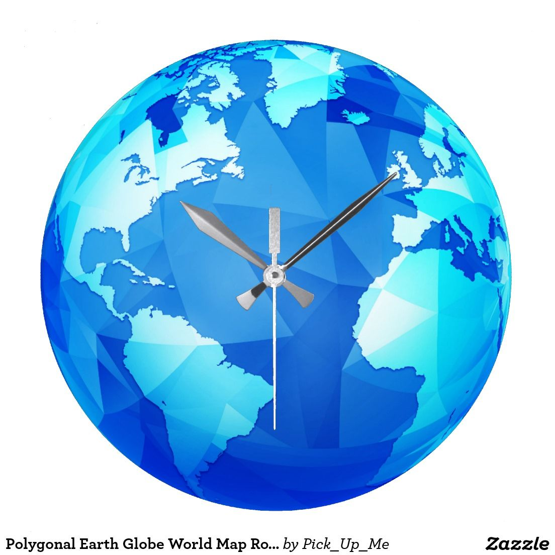 Polygonal earth globe world map round wall clock all aboard for polygonal earth globe world map round wall clock gumiabroncs Images