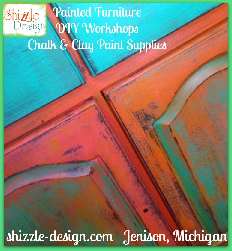 Superior Shizzle Design Is An American Paint Company Retailer In Michigan, Using  Whimsical Chalk Paint In Clay, Turquoise, And Orange On Vintage Furniture.