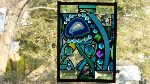 Lost in Turquoise and loving it No 7 Stained Glass Abstract
