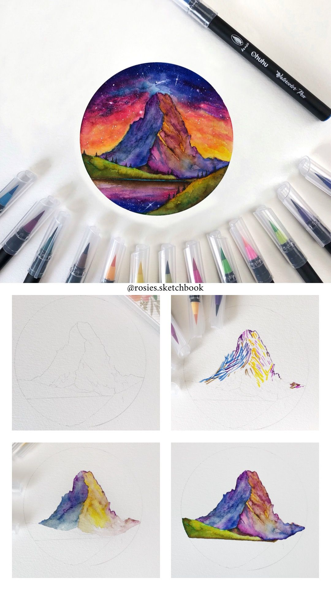 Mini Tutorial Of Mount Matterhorn Using Watercolor Brush Pens With