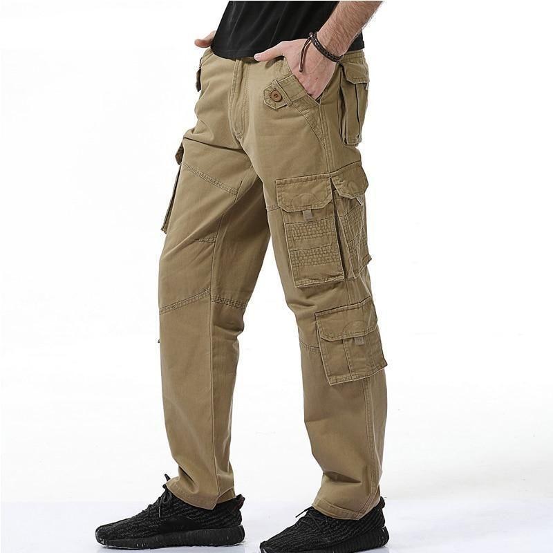 Fashion men baggy cargo pants loose fit multi pocket 100