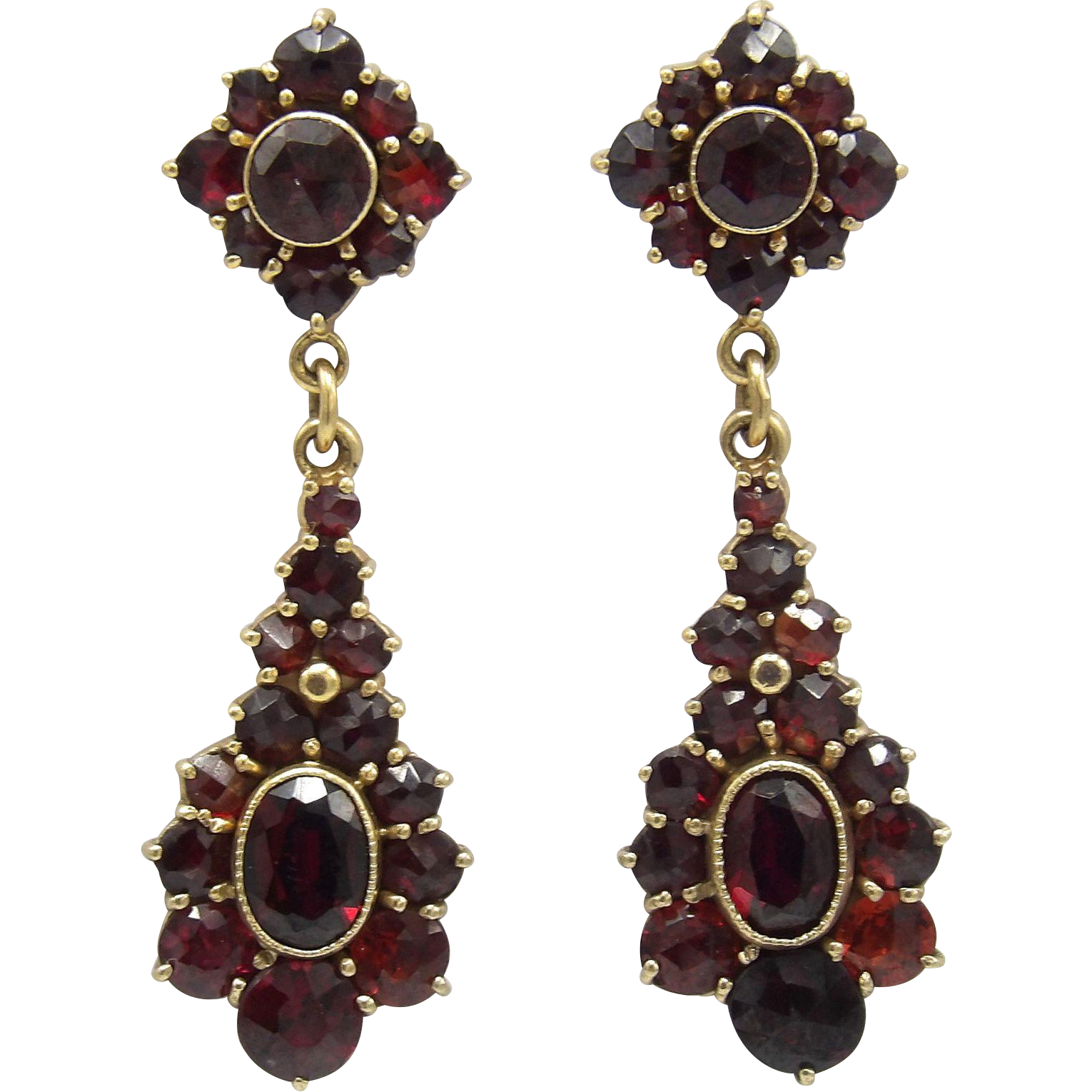 14 K Gold Bohemian Garnet Earrings Found At Rubylane Vintagebeginshere Christmas
