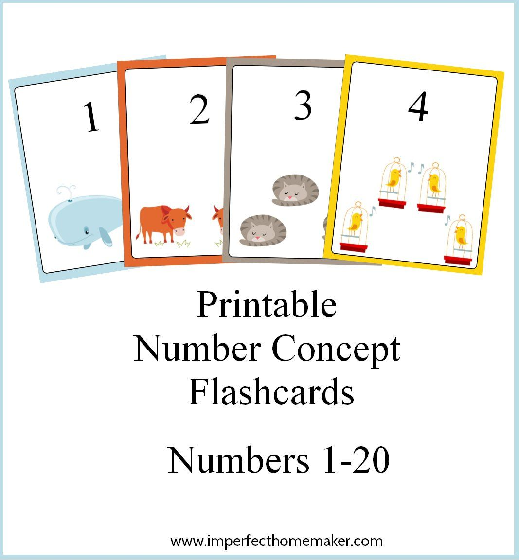 Printable Number Concept Flashcards 1-20 with number and corresponding  number of items