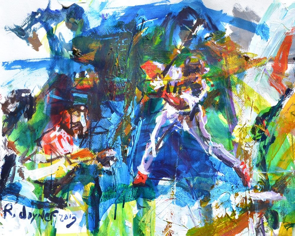 Marvelous Abstract Baseball Painting Featuring A Homeplate Scene With Beutiful Home Inspiration Cosmmahrainfo