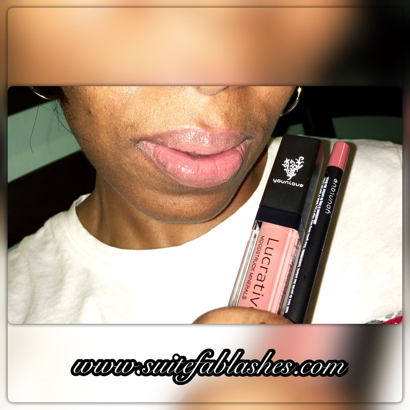 Moodstruck Minerals Lucrative Lipgloss in Luxe combined with Moodstruck Precision Pencil in Pouty! Shop www.suitefablashes.com for this look!!