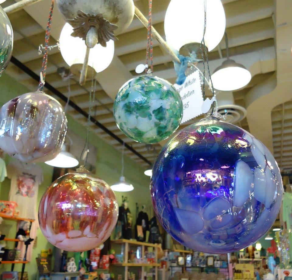 Art Glass Friendship balls on display