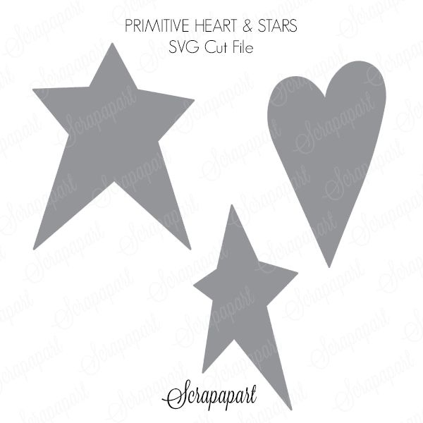 Free Cut File Primitive Heart And Stars