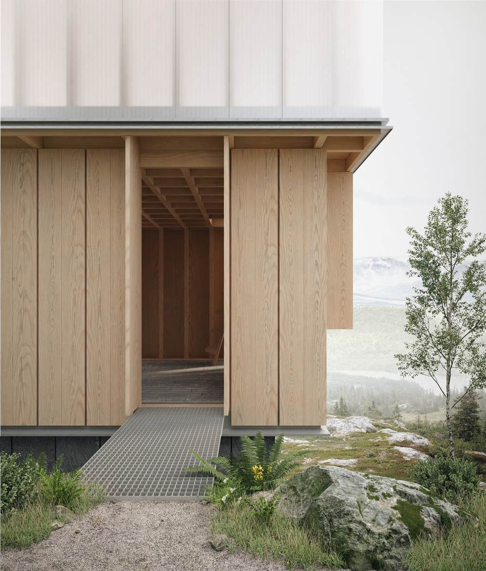 Exposed Timber Structure And Walls Translucent Polycarbonate On Stud Frame James Barber Facade Architecture Facade House House Paint Exterior