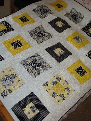 Black Yellow And White Blocks Baby Room Decor Quilts Lime