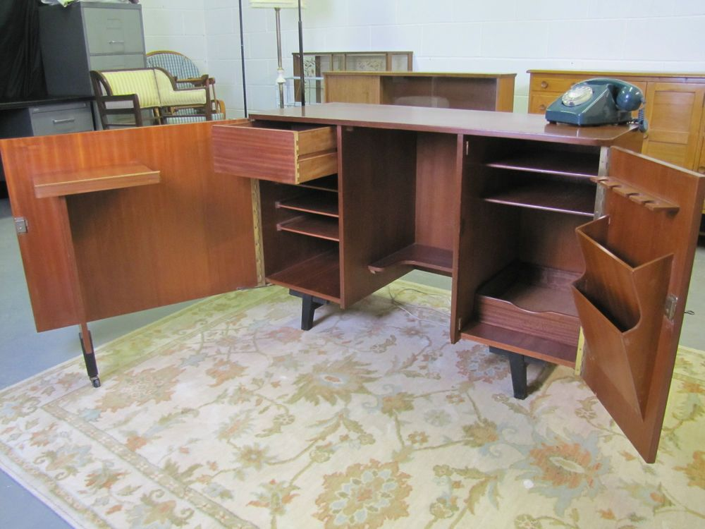 office desktop storage. Vintage/Retro Home Office Hideaway Foldout Teak Desk Storage And Key Sideboard Desktop N