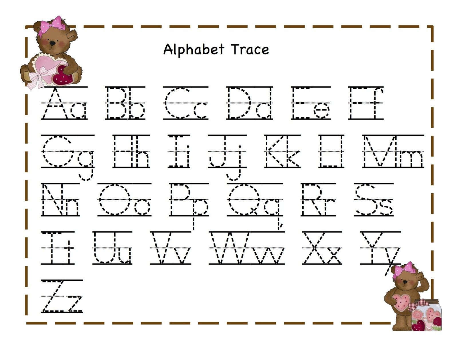 Worksheet Alphabet Letters To Trace trace alphabet letters teddy printable pinterest teddy