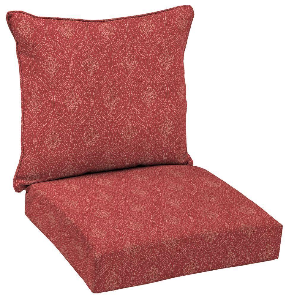 Hampton Bay Chili Stitch Ogee 2 Piece Deep Seating Outdoor Lounge Chair  Cushion Set