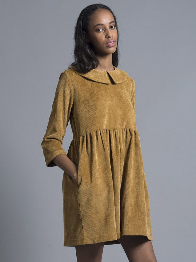 c2c0e3bbb4e Mustard Corduroy Smock Dress