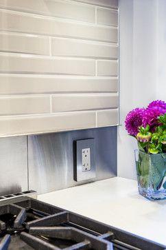 kitchen backsplash- stainless band detail