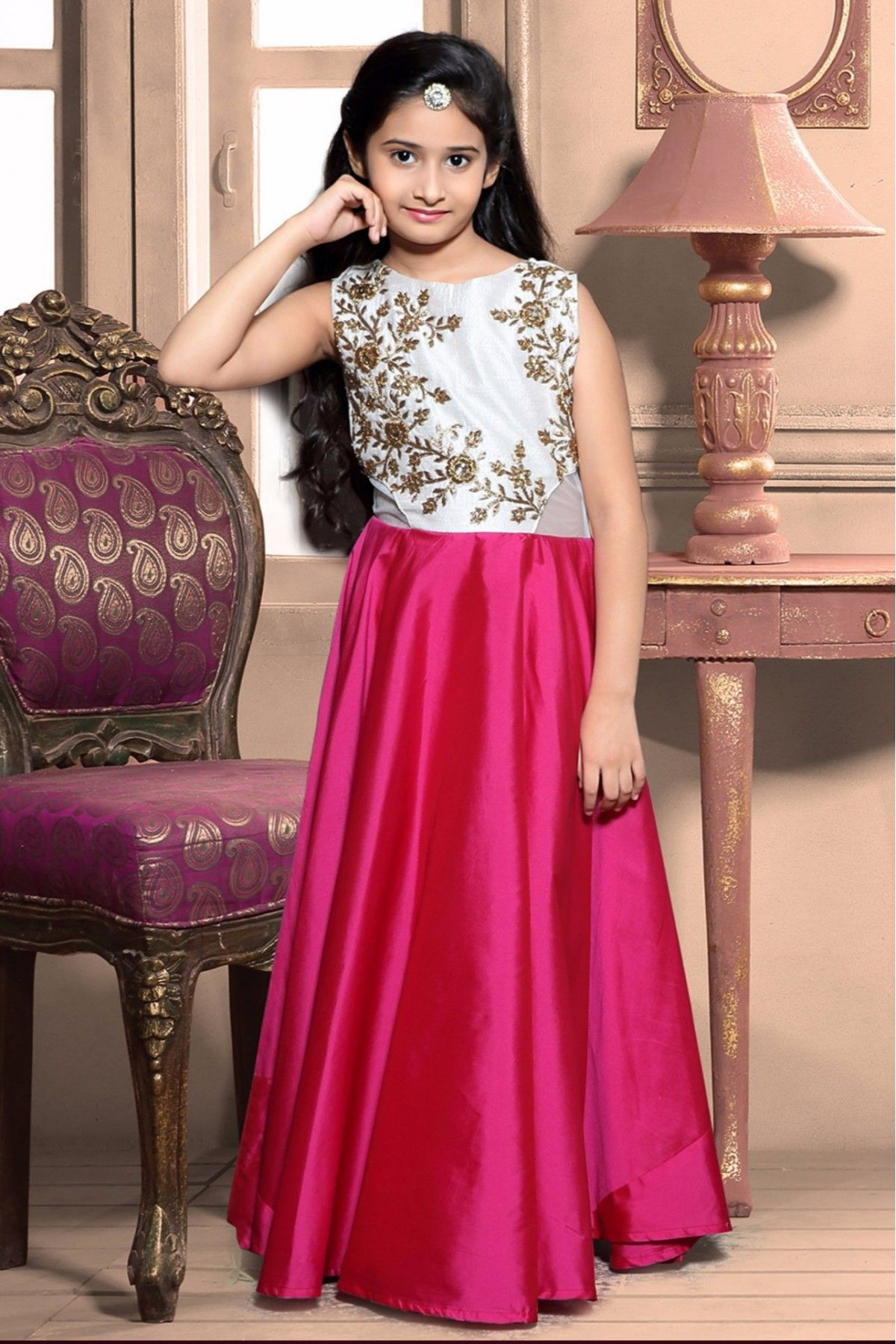 taffeta and silk party wear gown in pink colour  pakaian