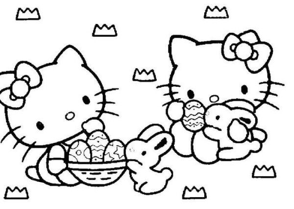 Hello Kitty And Bunny Happy Easter Coloring Page