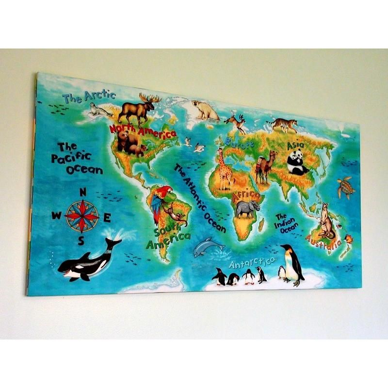 World Map Hanging Wall Art Picture Similar To Wall Canvas Kids - World map for playroom