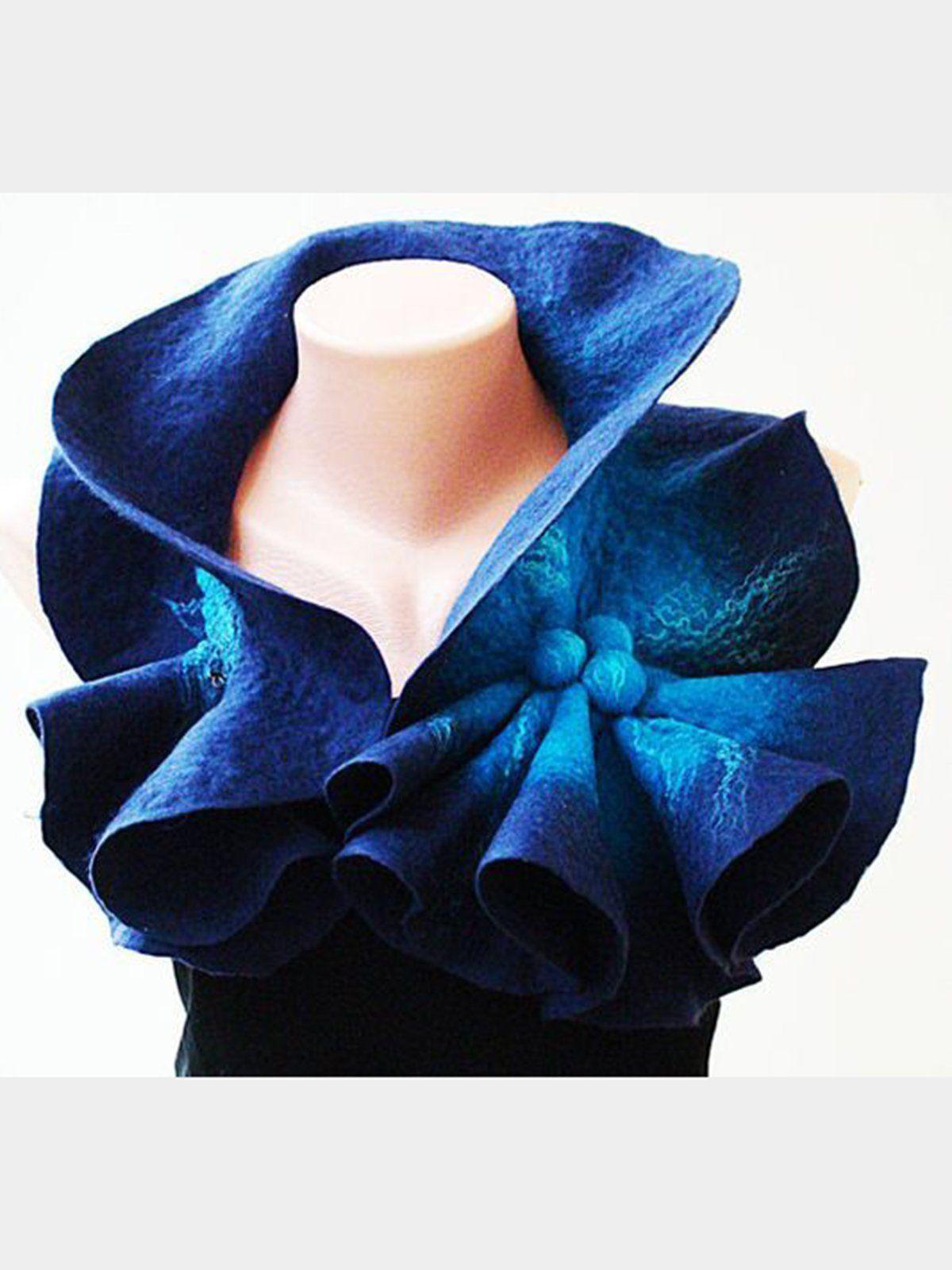 Anywellshop Ombre Tie Dye Blue Accessories Cotton Blend Spring Vintage Accessories Anywellshop Shibori Scarf Wool Scarf Tie Dye Cotton