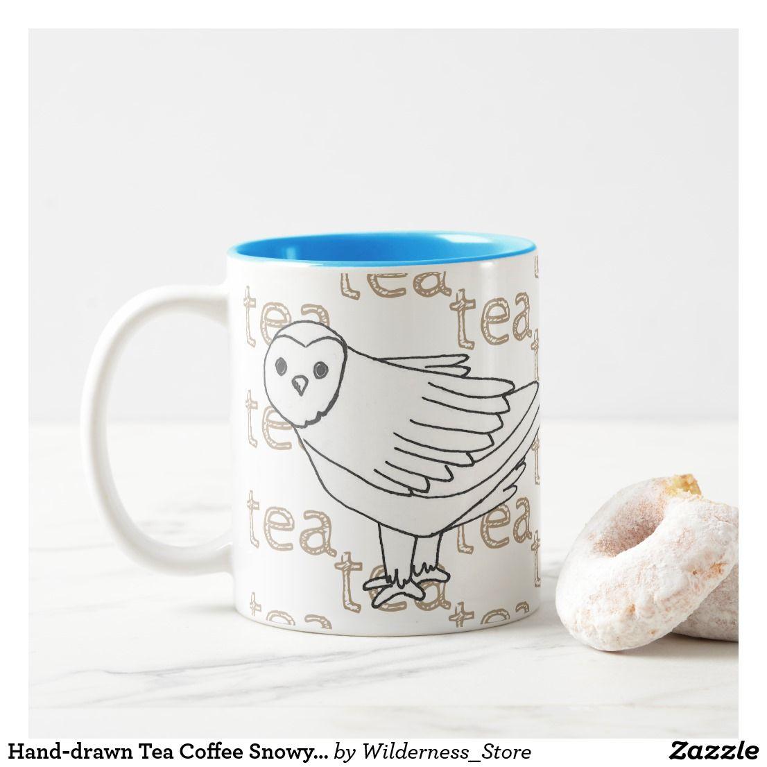 Handdrawn tea coffee snowy owl twotone coffee mug