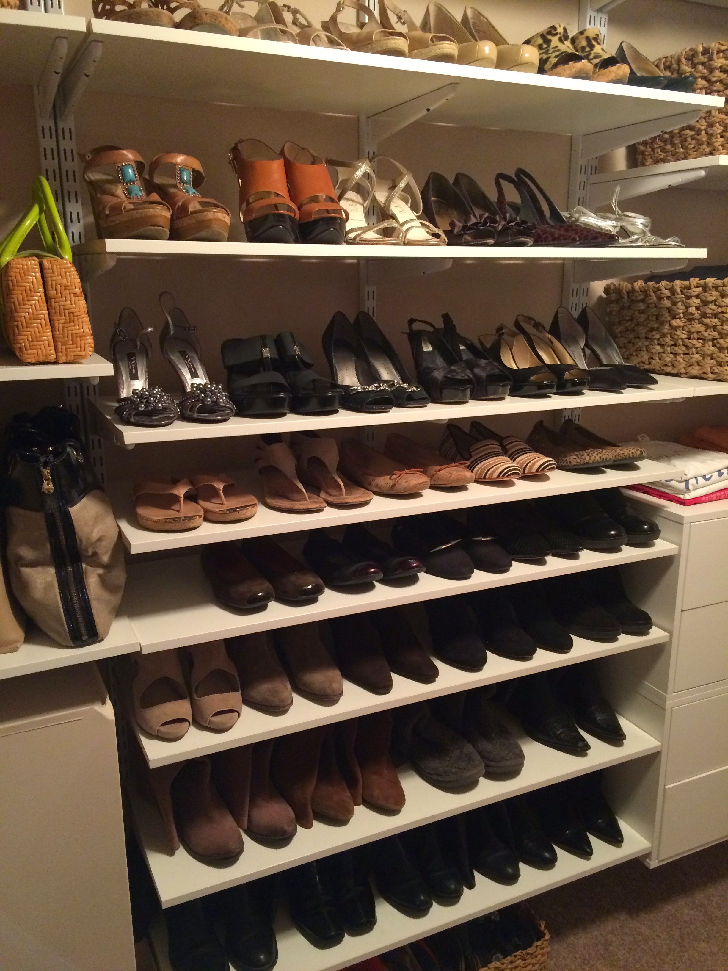 How to store and organize shoes in a closet shoe shelf