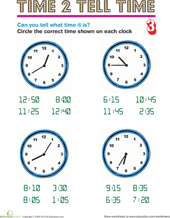 Worksheets: Time 2 Tell Time 3