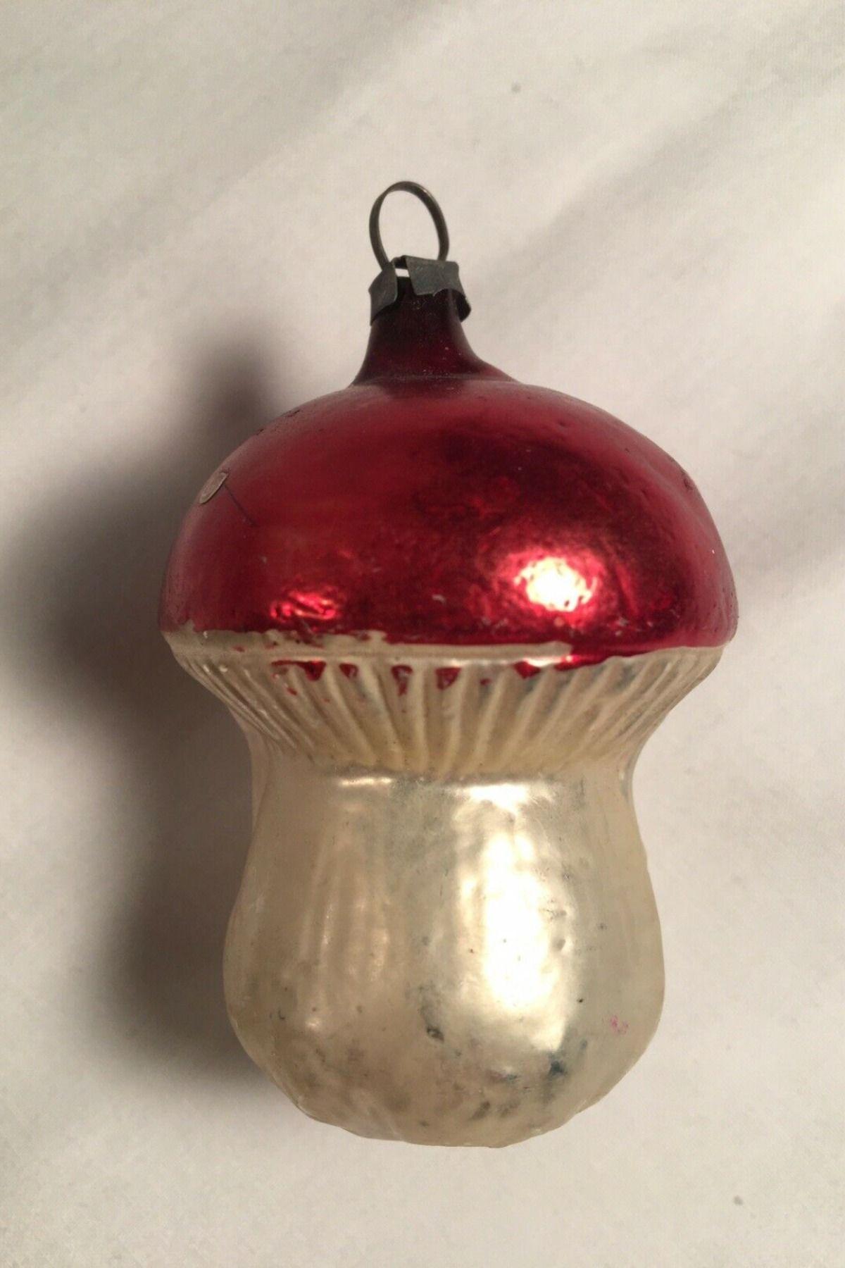 "Antique 2-5/8"" Mushroom Toadstool Glass Germany German ..."