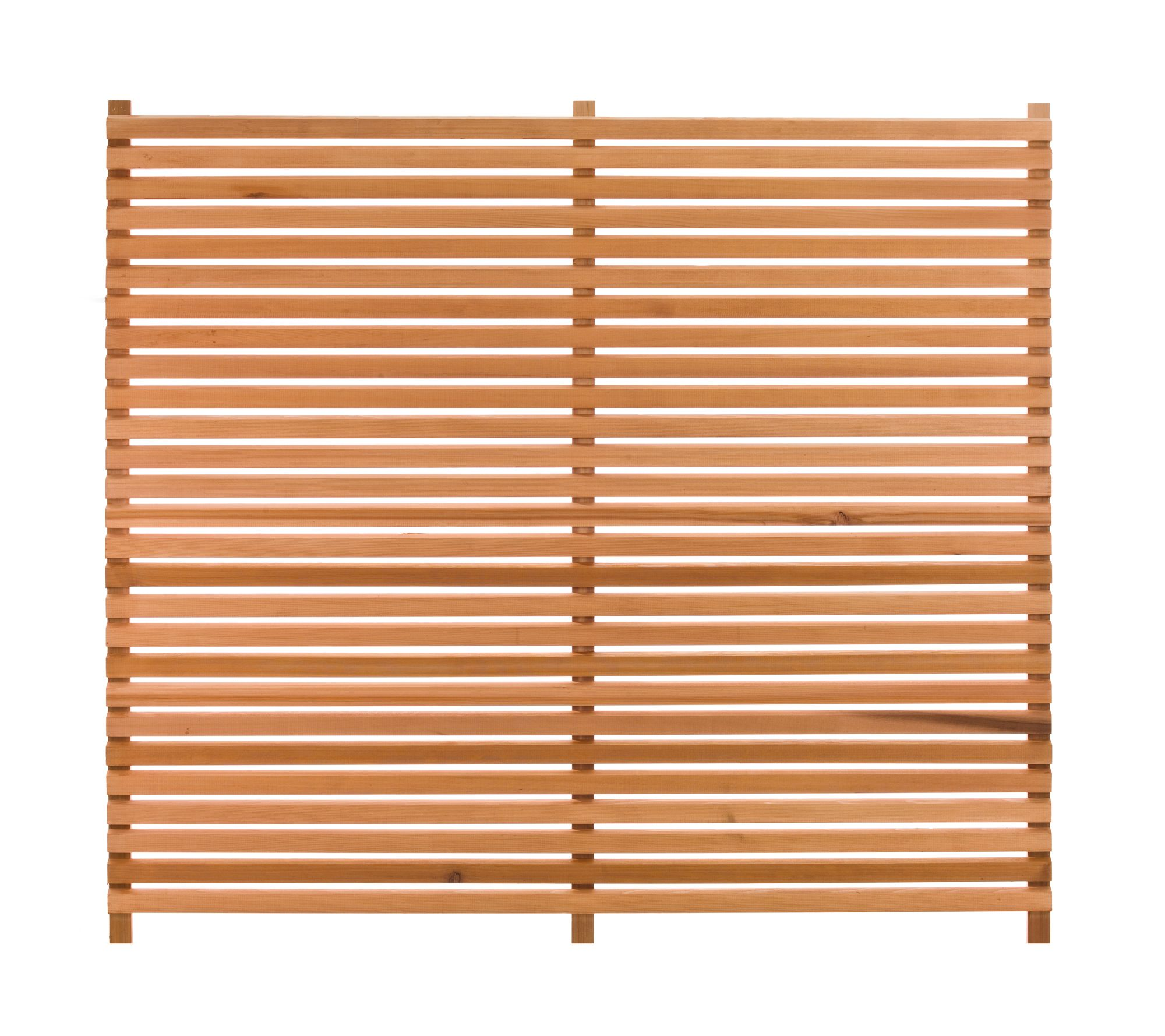 western red cedar slatted fencing panels constructed from 45mm x