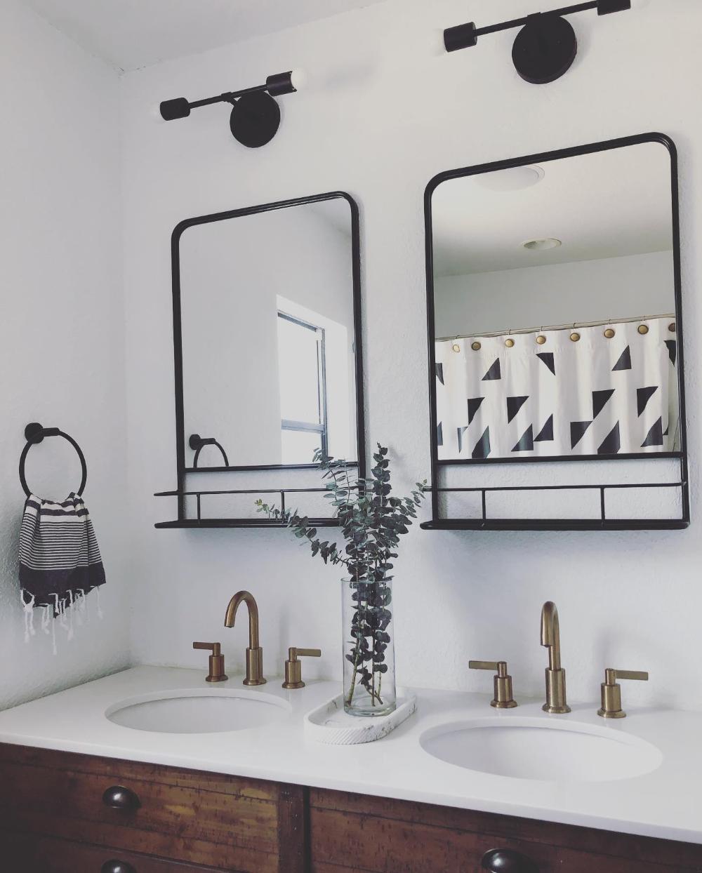 20 X 30 Pharmacy Mirror With Metal Shelf Powder Coated Mirror Pewter Threshold Farmhouse Bathroom Mirrors Black Bathroom Mirrors Bathroom Mirror With Shelf