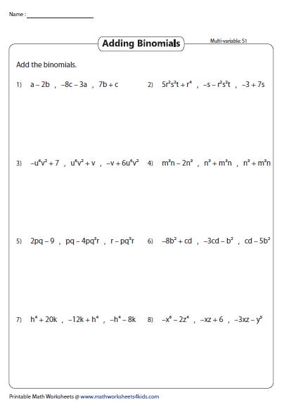 Adding Three Binomials Multivariable Algebra Worksheets Simplifying Algebraic Expressions Polynomials