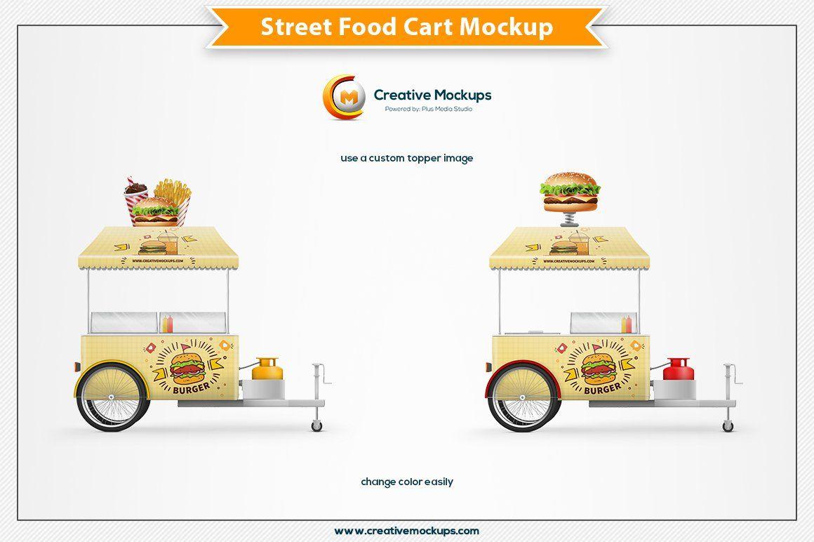 Street Food Cart Mockup Food Cart Presentation Design Street Food