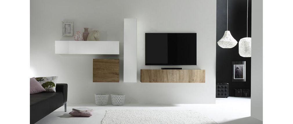 Element Mural Tv Design Bois Miel Horizontal Colored V2 Meuble Tv Mural Design Ensemble Meuble Tv Et Idee Meuble Tv