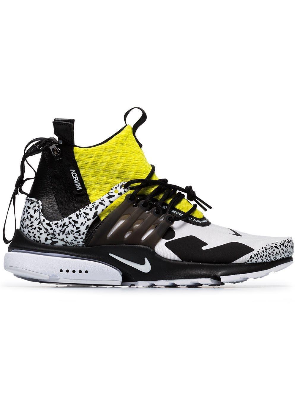 half off e205f 84a12 NIKE NIKE BLACK WHITE AND YELLOW X ACRONYM PRESTO LEATHER SNEAKERS. nike  shoes