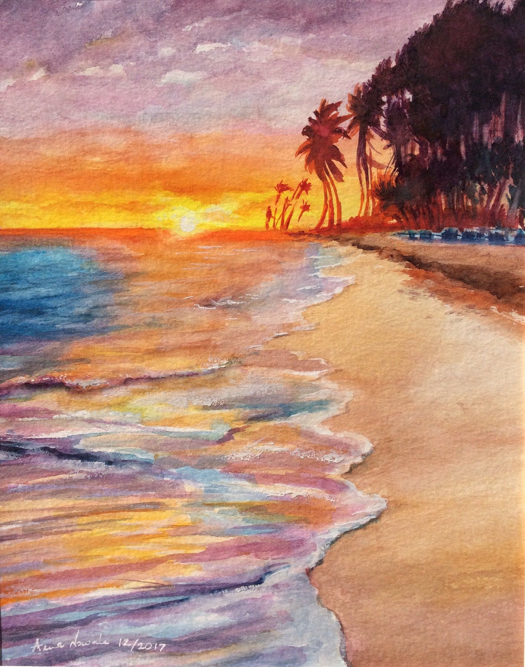 Tropical Beach Original Watercolor Painting Sunset Morning