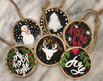 Handmade Hand Painted Wood Slice Christmas Ornament