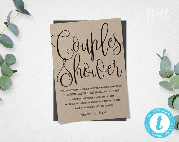 Rustic Couple\u0027s Wedding Shower Invitation, Printable Script Shower