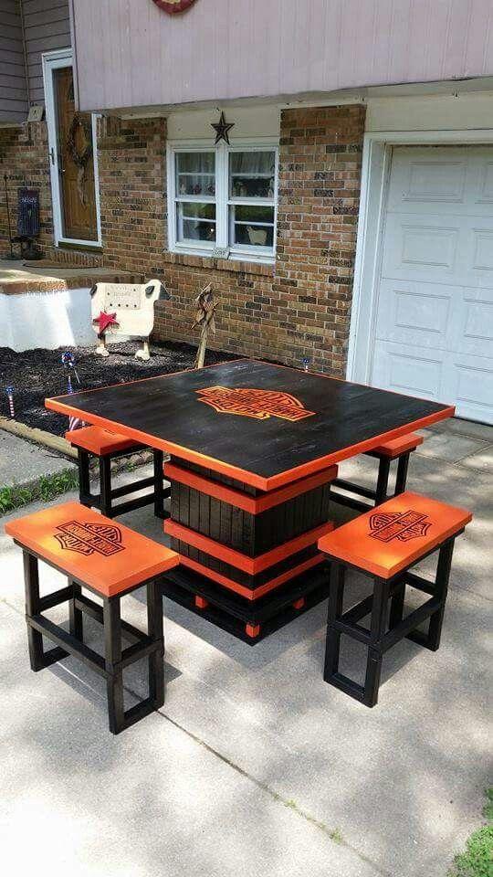 Harley Table | Harley davidson decor, Harley davidson crafts