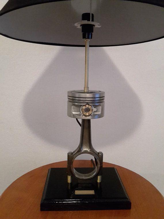 Delorean Dmc 12 Lamp With Engine Parts Industrial Garage Etsy Lamp Delorean Solid Oak