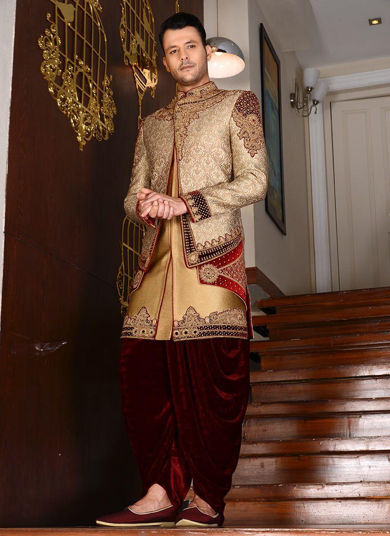 4bdbe0af56d Buy Beige Dhoti Style Layered Indo Western Sherwani online