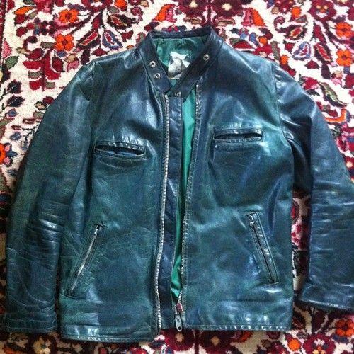 Vintage Green Leather Cafe Racer Jacket Size 38 40 Cafe Racer Jacket Jackets Cafe Racer Leather Jacket