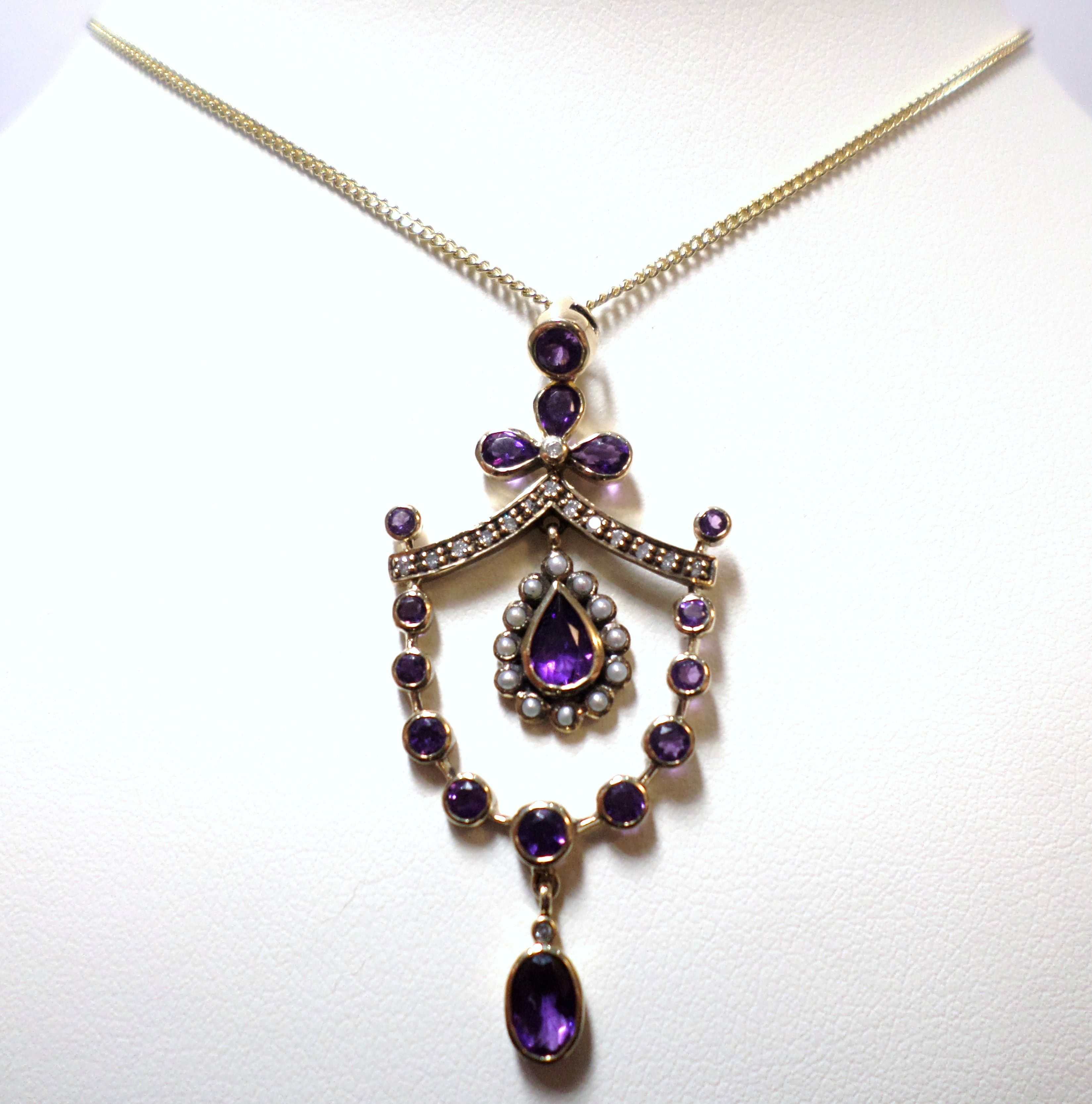 Jewellery 9ct Yellow Gold Amethyst and Cultured Freshwater Seed Pearl Pendant Vintage Antique Reproduction £395.00 Contact us at www.facebook.com/ellisondavisjewellery for more information
