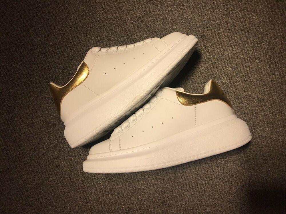 Alexander Mcqueen Oversized Sole White Gold Brand New Fashion
