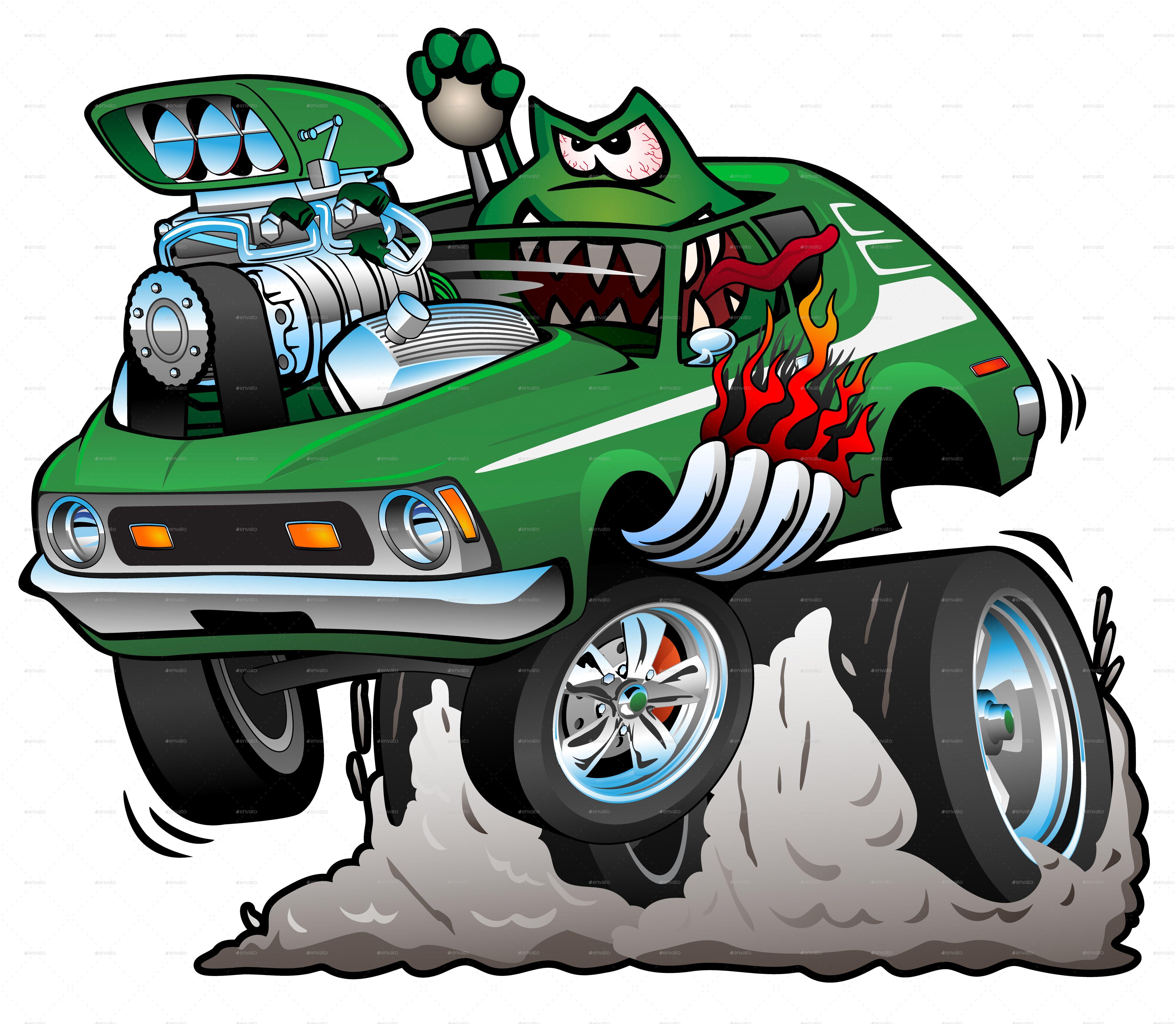 Seventies green hot rod cartoon vector illustration hot green seventies rod