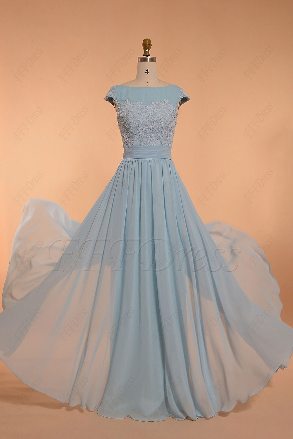Modest light blue bridesmaid dress bridesmaid dresses pinterest
