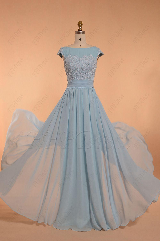 Modest light blue bridesmaid dress bridesmaid dresses pinterest
