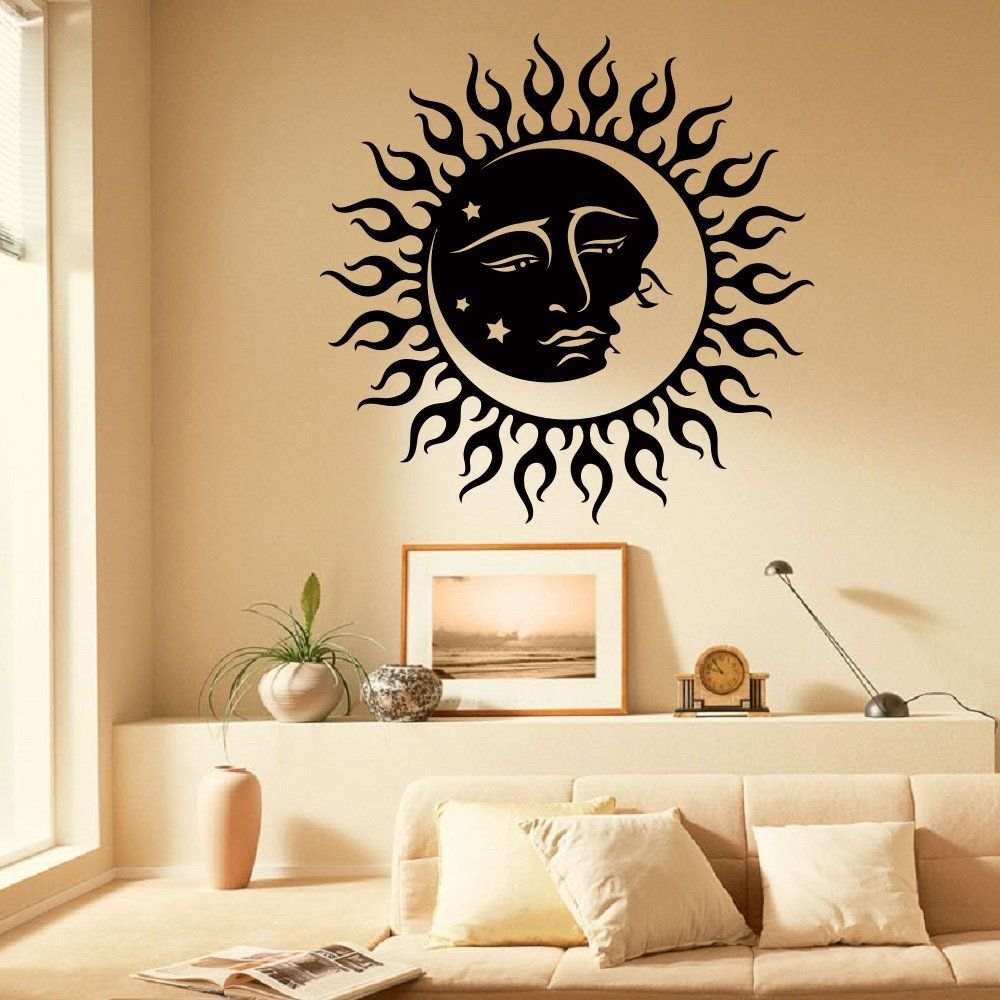 pin on sun and moon wall decor on wall stickers painting id=87765