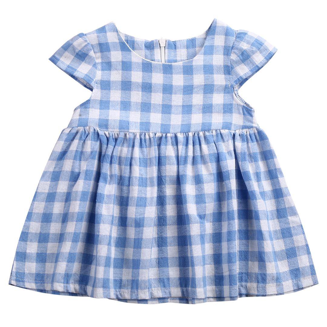 Pudcoco summer baby kids plaid dress infant toddler kids baby girls
