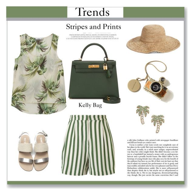 """""""Trend: Stripes+Prints"""" by irina-ny ❤ liked on Polyvore featuring Nordstrom, Hermès, SELECTED, MANGO and Kate Spade"""