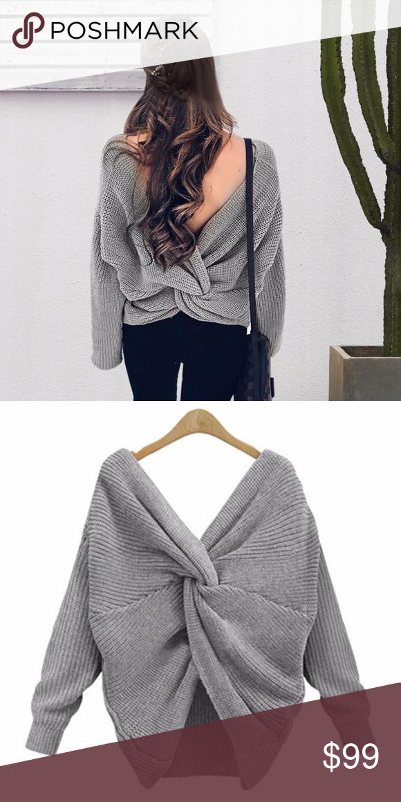 601b22fe784df5 💥 SALE Twisted Open Back Knit V Neck Sweater Grey Cozy